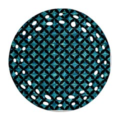 Circles3 Black Marble & Blue Green Water (r) Ornament (round Filigree) by trendistuff
