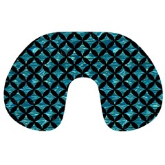 Circles3 Black Marble & Blue Green Water (r) Travel Neck Pillow by trendistuff