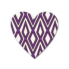 Diamond Key Stripe Purple Chevron Heart Magnet by Mariart