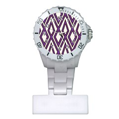 Diamond Key Stripe Purple Chevron Plastic Nurses Watch by Mariart