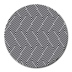 Escher Striped Black And White Plain Vinyl Round Mousepads by Mariart