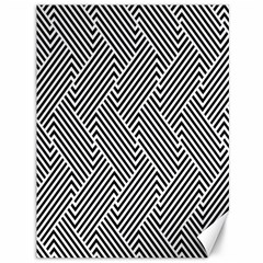 Escher Striped Black And White Plain Vinyl Canvas 36  X 48   by Mariart