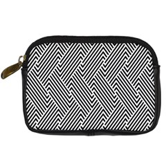 Escher Striped Black And White Plain Vinyl Digital Camera Cases by Mariart
