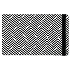 Escher Striped Black And White Plain Vinyl Apple Ipad 3/4 Flip Case by Mariart
