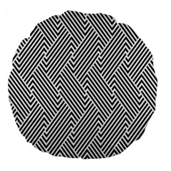 Escher Striped Black And White Plain Vinyl Large 18  Premium Round Cushions by Mariart