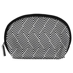 Escher Striped Black And White Plain Vinyl Accessory Pouches (large)  by Mariart