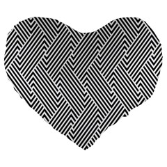 Escher Striped Black And White Plain Vinyl Large 19  Premium Flano Heart Shape Cushions by Mariart