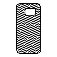 Escher Striped Black And White Plain Vinyl Samsung Galaxy S7 Black Seamless Case by Mariart