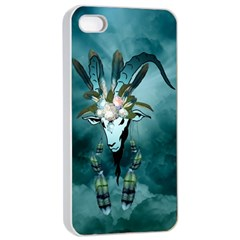 The Billy Goat  Skull With Feathers And Flowers Apple Iphone 4/4s Seamless Case (white) by FantasyWorld7