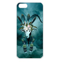 The Billy Goat  Skull With Feathers And Flowers Apple Iphone 5 Seamless Case (white) by FantasyWorld7
