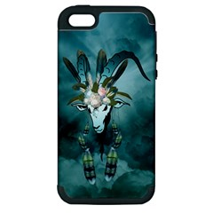 The Billy Goat  Skull With Feathers And Flowers Apple Iphone 5 Hardshell Case (pc+silicone) by FantasyWorld7