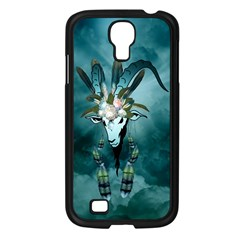 The Billy Goat  Skull With Feathers And Flowers Samsung Galaxy S4 I9500/ I9505 Case (black) by FantasyWorld7