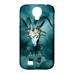 The Billy Goat  Skull With Feathers And Flowers Samsung Galaxy S4 Classic Hardshell Case (pc+silicone) by FantasyWorld7