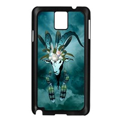 The Billy Goat  Skull With Feathers And Flowers Samsung Galaxy Note 3 N9005 Case (black)