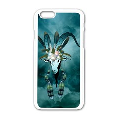 The Billy Goat  Skull With Feathers And Flowers Apple Iphone 6/6s White Enamel Case by FantasyWorld7