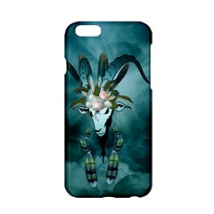 The Billy Goat  Skull With Feathers And Flowers Apple Iphone 6/6s Hardshell Case by FantasyWorld7