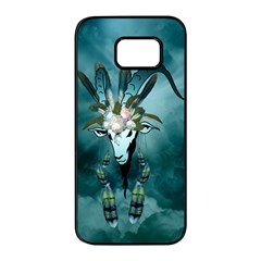 The Billy Goat  Skull With Feathers And Flowers Samsung Galaxy S7 Edge Black Seamless Case