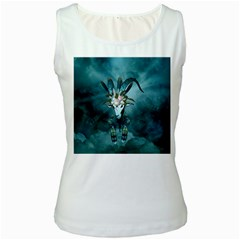 The Billy Goat  Skull With Feathers And Flowers Women s White Tank Top by FantasyWorld7