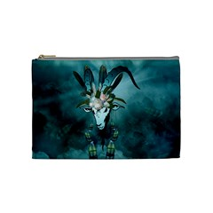 The Billy Goat  Skull With Feathers And Flowers Cosmetic Bag (medium)  by FantasyWorld7