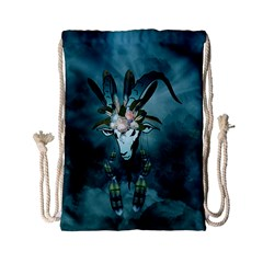 The Billy Goat  Skull With Feathers And Flowers Drawstring Bag (small) by FantasyWorld7