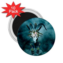 The Billy Goat  Skull With Feathers And Flowers 2 25  Magnets (10 Pack)  by FantasyWorld7