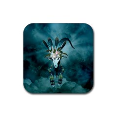 The Billy Goat  Skull With Feathers And Flowers Rubber Square Coaster (4 Pack)  by FantasyWorld7