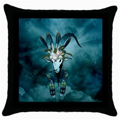 The Billy Goat  Skull With Feathers And Flowers Throw Pillow Case (black) by FantasyWorld7