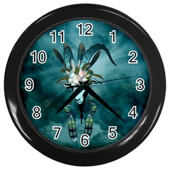 The Billy Goat  Skull With Feathers And Flowers Wall Clocks (black) by FantasyWorld7