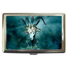 The Billy Goat  Skull With Feathers And Flowers Cigarette Money Cases by FantasyWorld7