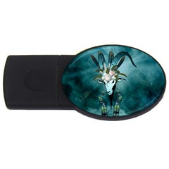 The Billy Goat  Skull With Feathers And Flowers Usb Flash Drive Oval (4 Gb) by FantasyWorld7