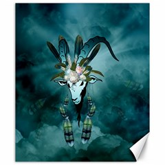 The Billy Goat  Skull With Feathers And Flowers Canvas 20  X 24   by FantasyWorld7