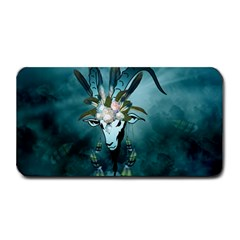 The Billy Goat  Skull With Feathers And Flowers Medium Bar Mats by FantasyWorld7
