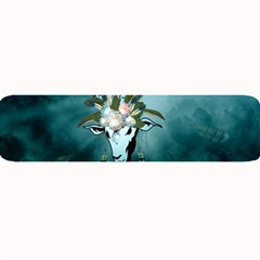 The Billy Goat  Skull With Feathers And Flowers Large Bar Mats by FantasyWorld7