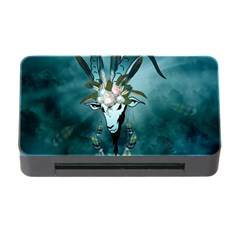The Billy Goat  Skull With Feathers And Flowers Memory Card Reader With Cf by FantasyWorld7