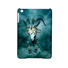 The Billy Goat  Skull With Feathers And Flowers Ipad Mini 2 Hardshell Cases by FantasyWorld7