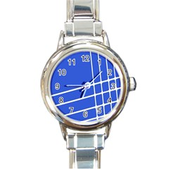 Line Stripes Blue Round Italian Charm Watch by Mariart
