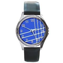 Line Stripes Blue Round Metal Watch by Mariart