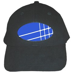 Line Stripes Blue Black Cap by Mariart
