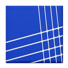 Line Stripes Blue Tile Coasters by Mariart
