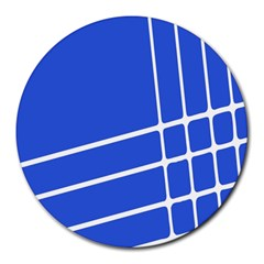 Line Stripes Blue Round Mousepads by Mariart