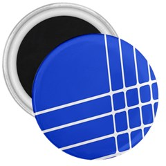 Line Stripes Blue 3  Magnets by Mariart