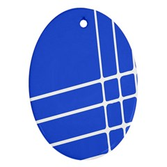 Line Stripes Blue Ornament (oval) by Mariart
