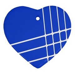 Line Stripes Blue Ornament (heart) by Mariart