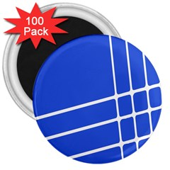 Line Stripes Blue 3  Magnets (100 Pack) by Mariart