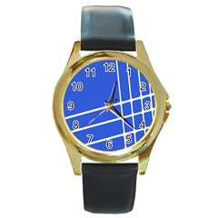 Line Stripes Blue Round Gold Metal Watch by Mariart