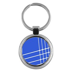 Line Stripes Blue Key Chains (round)  by Mariart