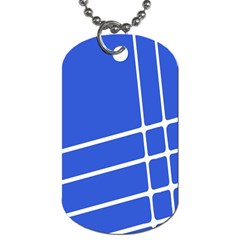 Line Stripes Blue Dog Tag (one Side) by Mariart