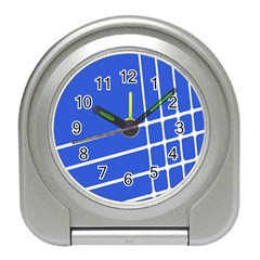 Line Stripes Blue Travel Alarm Clocks by Mariart