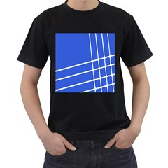 Line Stripes Blue Men s T-shirt (black) (two Sided)