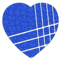 Line Stripes Blue Jigsaw Puzzle (heart) by Mariart